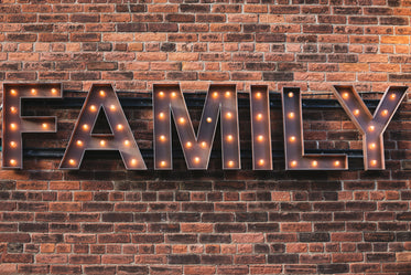 family sign with lights