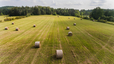 Free Farm Land & Hay Bails Photo — High Res Pictures