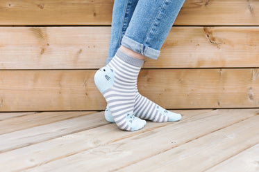 Browse Free HD Images of Feet Pose In Cat Socks