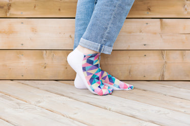 feet pose in geometric socks