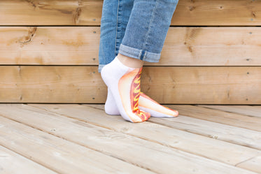 Picture of Feet Pose In Hot Dog Socks — Free Stock Photo