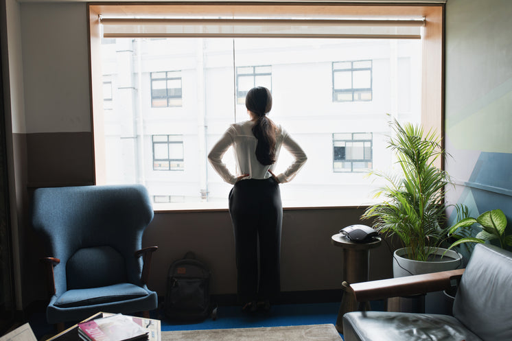 Female Executive Looks Out Modern Office Window