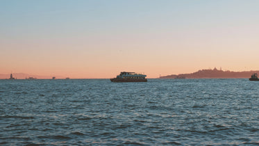 ferry boat at sunset