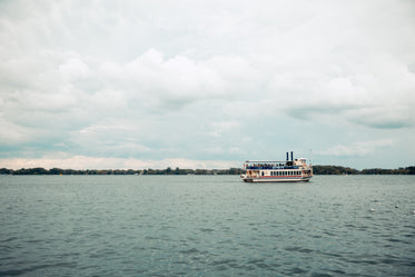 ferry crossing on cloudy day