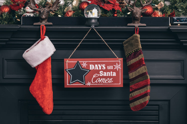 Festive Holiday Mantle With Sign Counting Down To Christmas