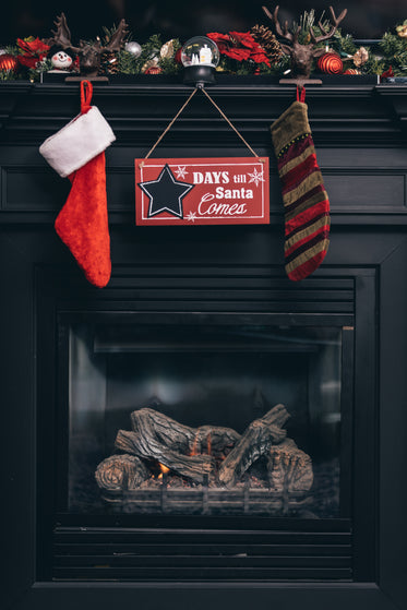 fireplace with christmas countdown sign
