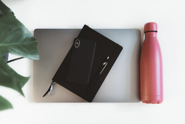 flatlay of a laptop with a splash of pink