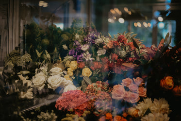 florist display through glass window
