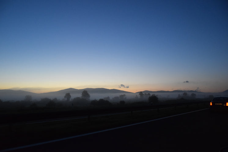 Foggy Hillside By Highway At Sundown
