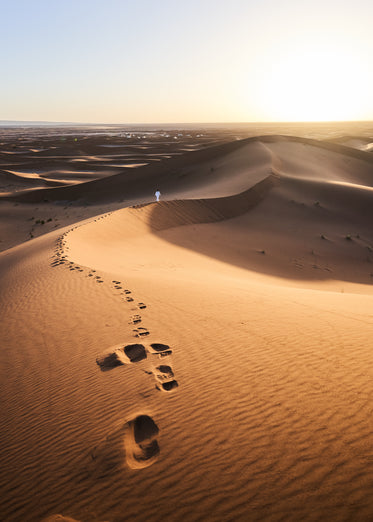 footsteps left in sand dunes