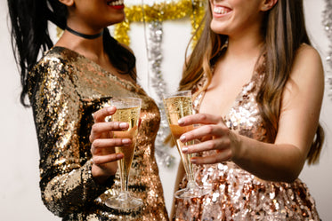 formal dresses and champagne