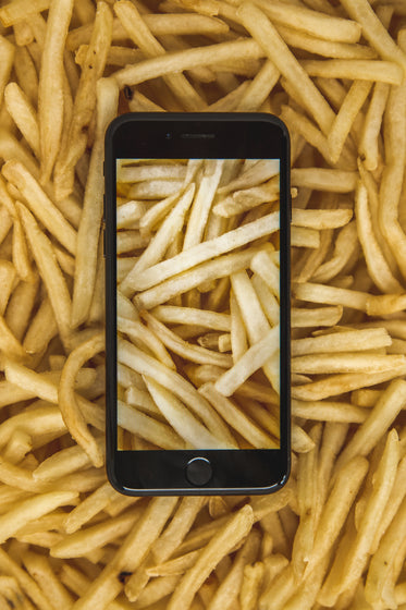 french fries phone photography