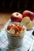 fresh cut apples with yogurt and oats