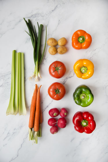 fresh vegetables flatlay