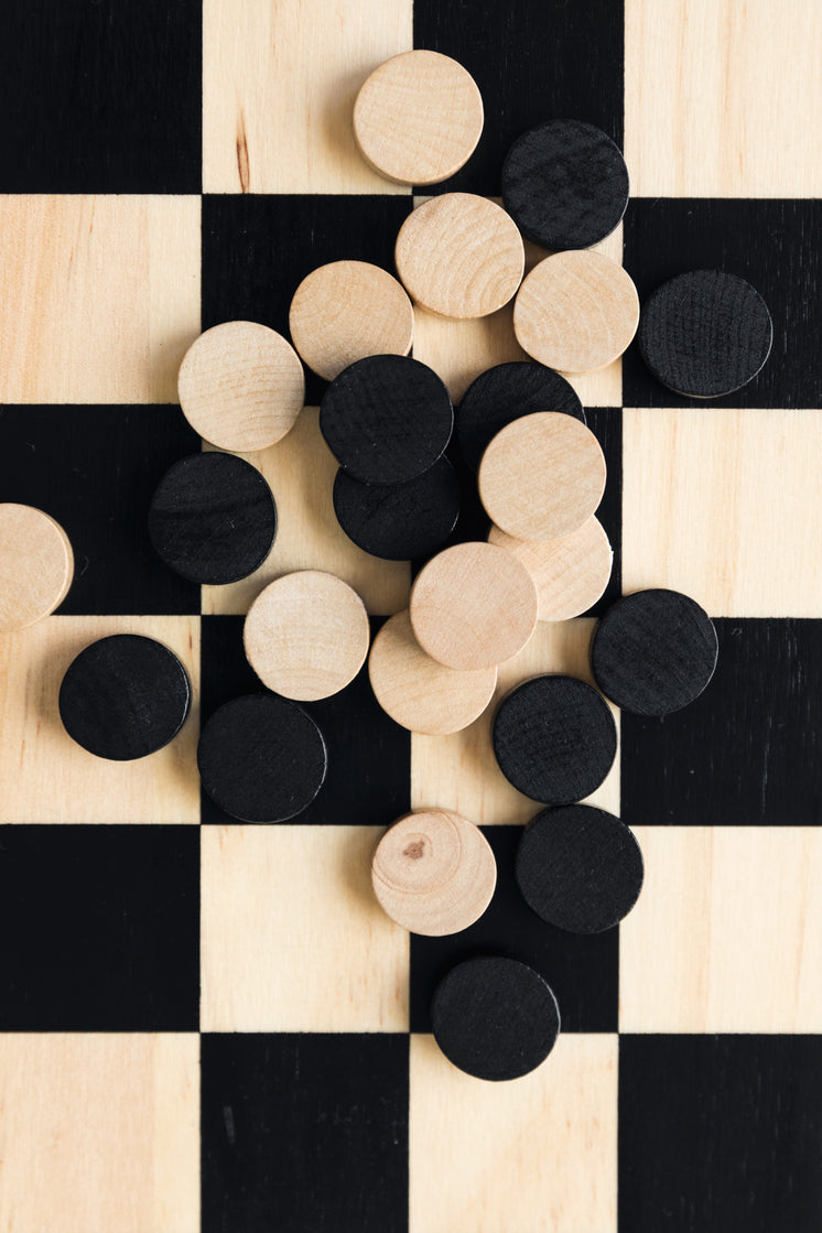 Game Board With Checkers Pieces Spread Out