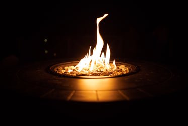 gas fire pit at night