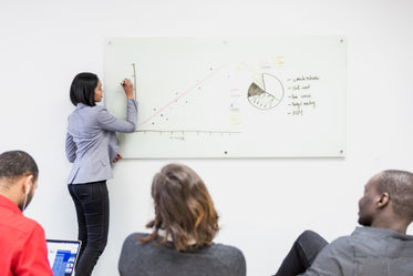 woman presents on whiteboard