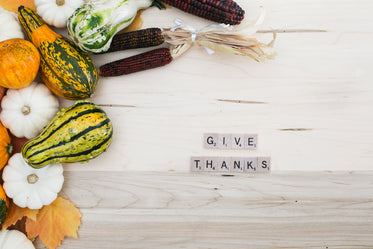 give thanks flatlay letters