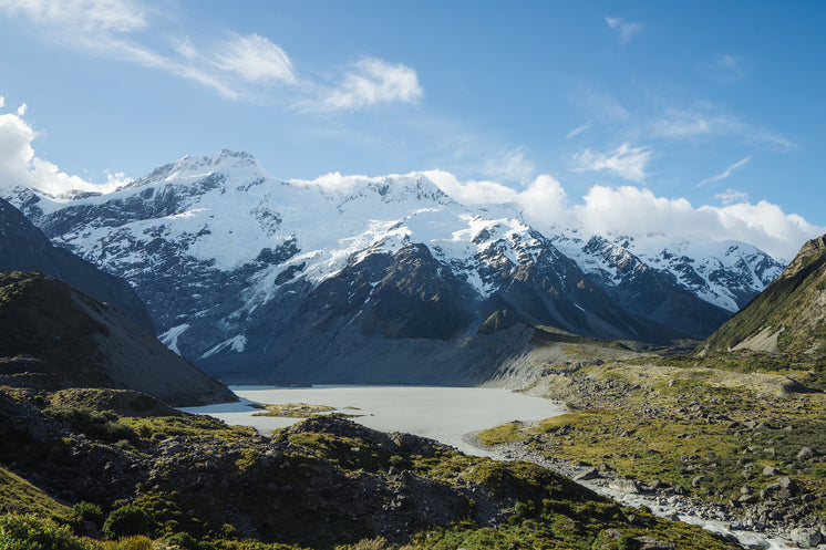 Glacial Lake Below Snow Capped Mountains