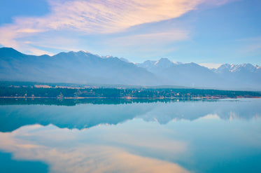 glassy lake reflects snow-capped mountains