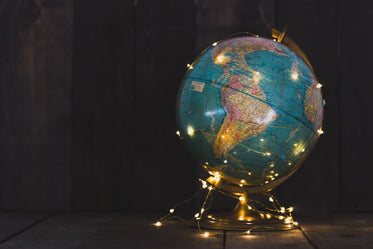 globe wrapped in lights