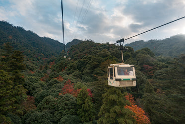 gondola reaches over colorful fall trees