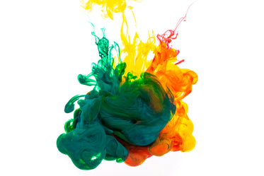 green orange and yellow ink cloud
