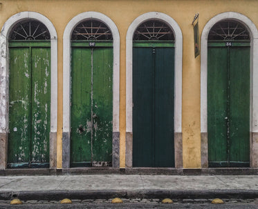green tall doors