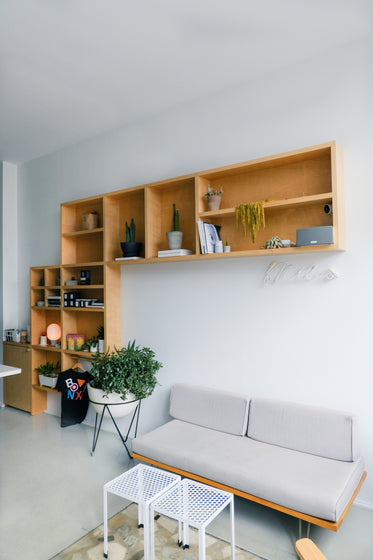 grey couch with a bookcase behind it