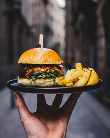 Picture of Hamburger And Fries - Free Stock Photo