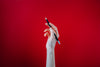 hand holding black pencil on red background