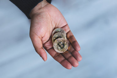 handful of bitcoin cryptocurrency