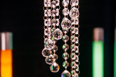 hanging crystals of chandelier