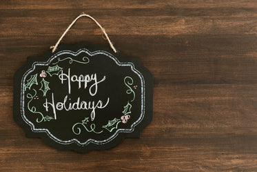 happy holidays chalkboard