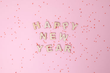 happy new year in letters and confetti