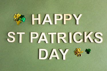 happy st. patricks day in wooden letters
