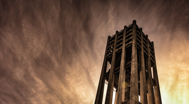 haunting view of bell tower framed by west coast sunset