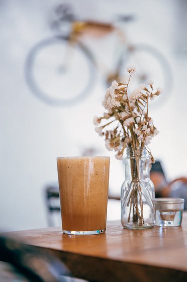 healthy smoothie on cafe table