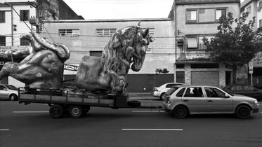horse statue on trailer