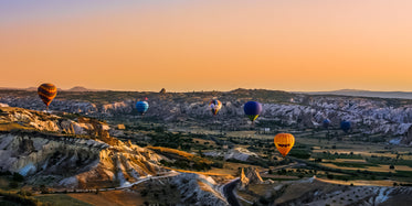 hot air balloons at dusk