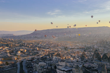 hot air balloons hovering in the sky