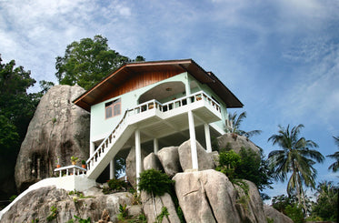 house on tropical rock