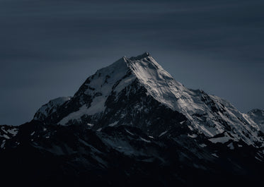 icy summit of a mountain on a frosty night