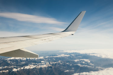 in flight over mountains