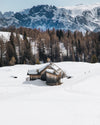 isolated wood cabin in snow