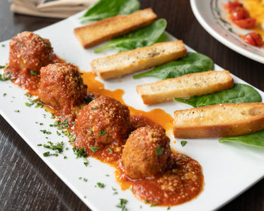 italian meatballs with toast