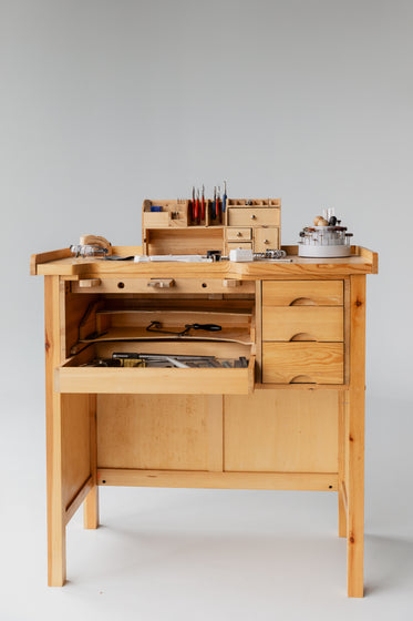jewelers workbench in white space