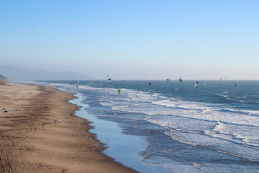 kites on beach in california