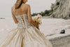 lace up bodice on wedding gown