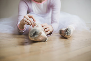 lacing up for ballet